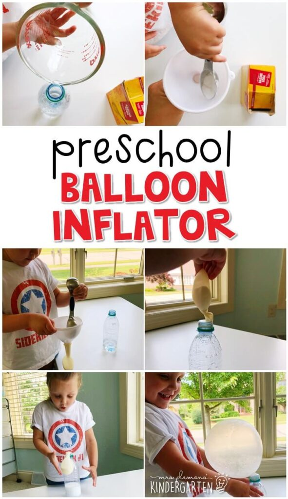 This balloon inflator science science activity is such a fun hands on experiment for preschoolers. Great for a carnival theme in tot school, preschool, or even kindergarten!