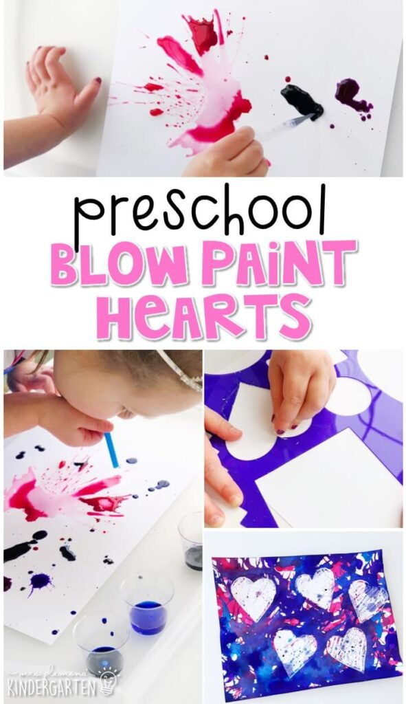 We had a blast making these blow paint hearts for our valentines theme. Perfect for tot school, preschool, or even kindergarten!