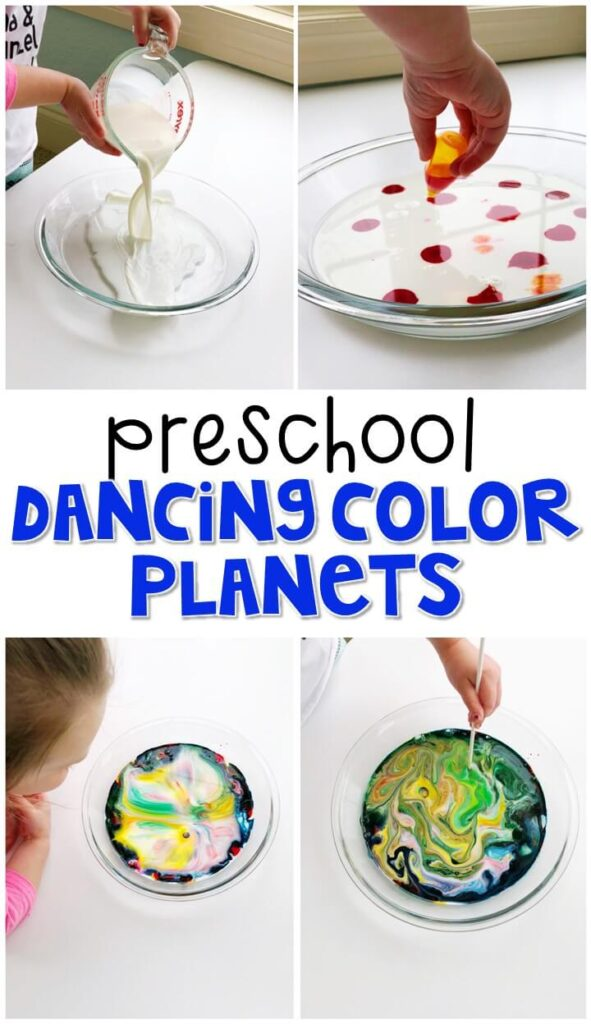 This dancing planet science activity was a fun way to explore the magic milk experiment. Great for a space theme in tot school, preschool, or even kindergarten!