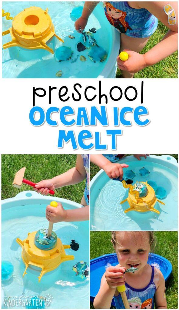 We LOVE this ocean ice melt sensory bin. Perfect for exploration with an ocean theme in tot school, preschool, or even kindergarten!