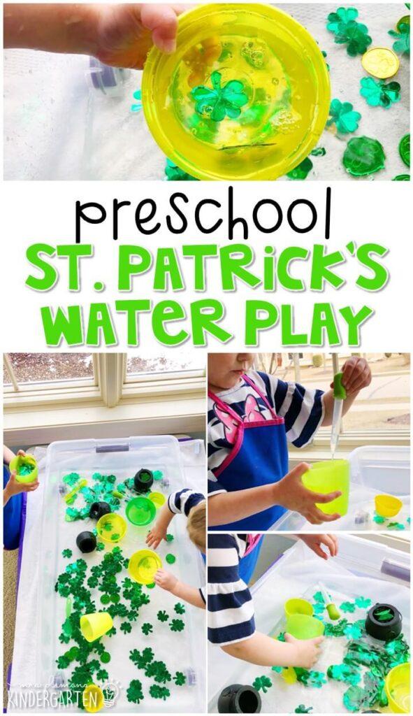We LOVE this St. Patrick's Day water sensory bin. Perfect for spring in tot school, preschool, or even kindergarten!