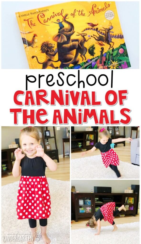 """Get moving after reading """"Carnival of the Animals"""" by Jack Prelutsky. This book has a poem for each animal accompanied by a classical musical movement from Camille Saint-Saëns's. Great for a carnival theme in tot school, preschool, or even kindergarten!"""