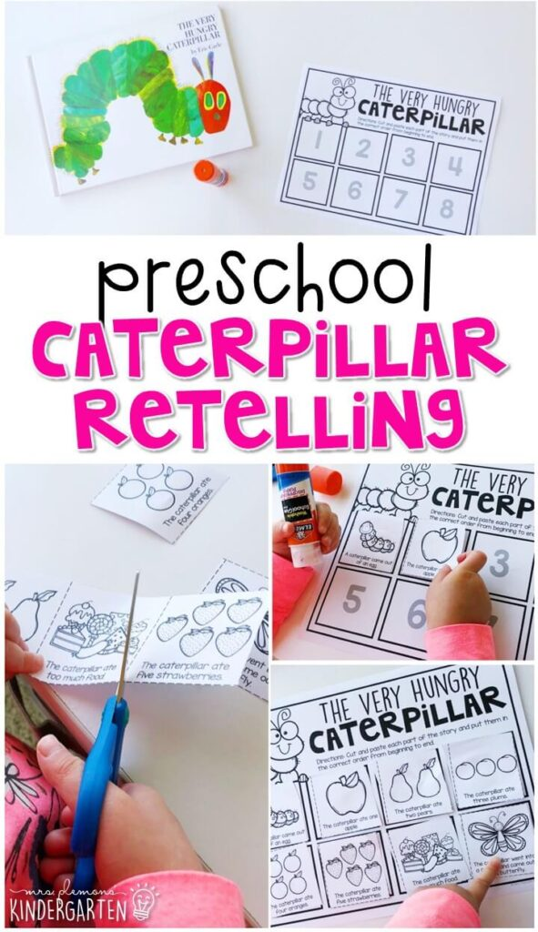 """Practice retelling a story with """"The Very Hungry Caterpillar"""" by Eric Carle. Great for a butterfly theme in tot school, preschool, or even kindergarten!"""
