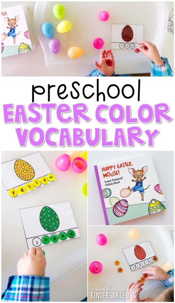"""Practice building color words with """"Happy Eater Mouse"""". Great for an Easter theme in tot school, preschool, or even kindergarten!"""