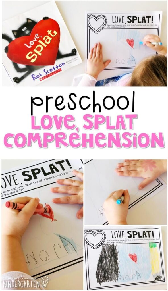 "Practice responding to reading with one of our FAVORITE valentines books, ""Love, Splat."" Great for a valentines theme in tot school, preschool, or even kindergarten!"