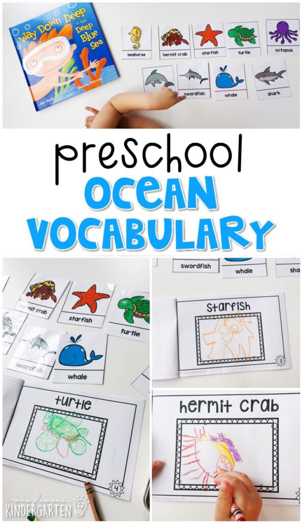 Practice ocean vocabulary by illustrating your own book and using word reference cards. Great for an ocean theme in tot school, preschool, or even kindergarten!