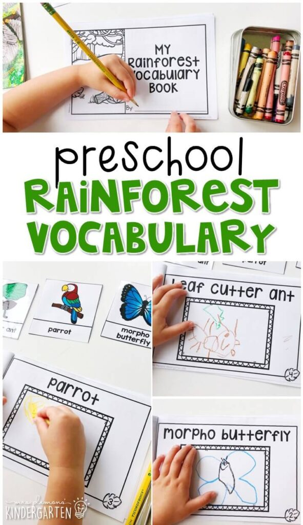 Practice rainforest vocabulary by illustrating your own book and using word reference cards. Great for spring in tot school, preschool, or even kindergarten!