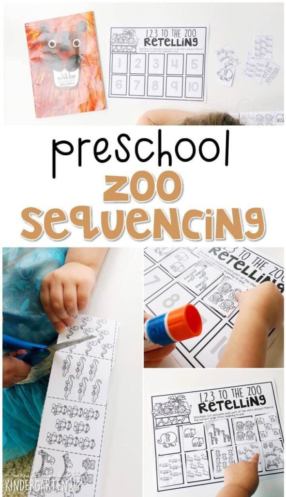 """Practice sequencing a story with """"1, 2, 3 to the Zoo"""" by Eric Carle. Great for a zoo theme in tot school, preschool, or even kindergarten!"""