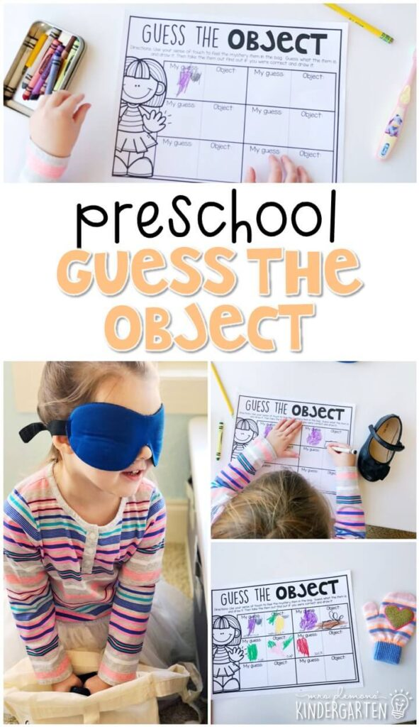 This guess the object activity was a fun way to explore our sense of touch. Great for a five senses theme in tot school, preschool, or even kindergarten!