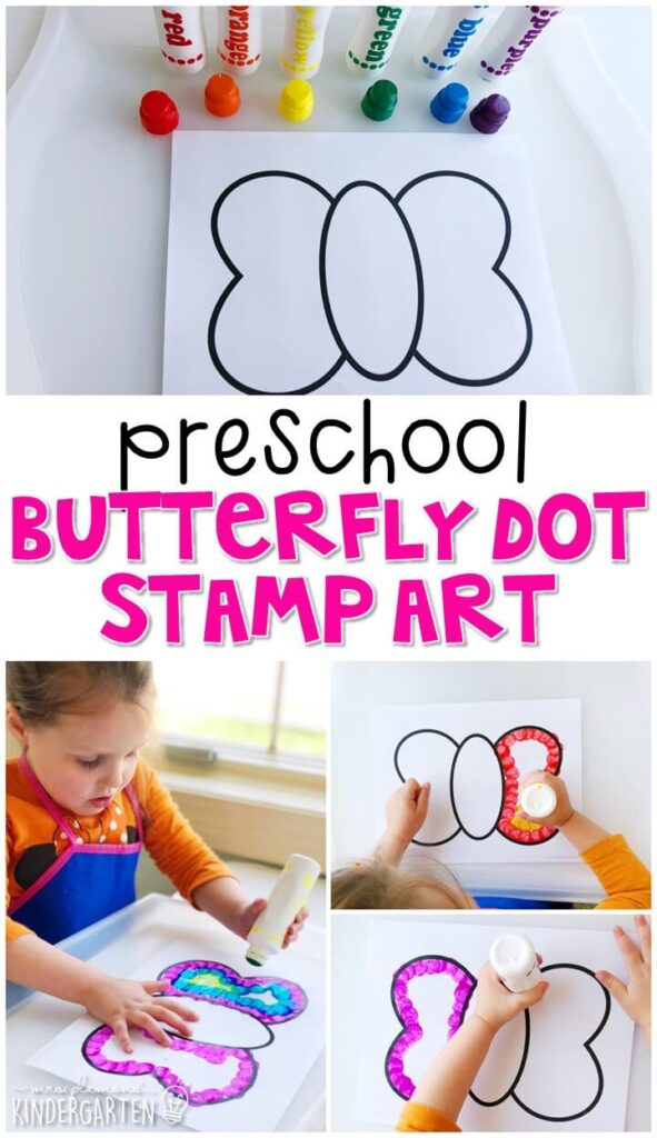 This butterfly dot stamp art project was a fun way to explore symmetry and work on fine motor skills.. Great for spring in tot school, preschool, or even kindergarten!