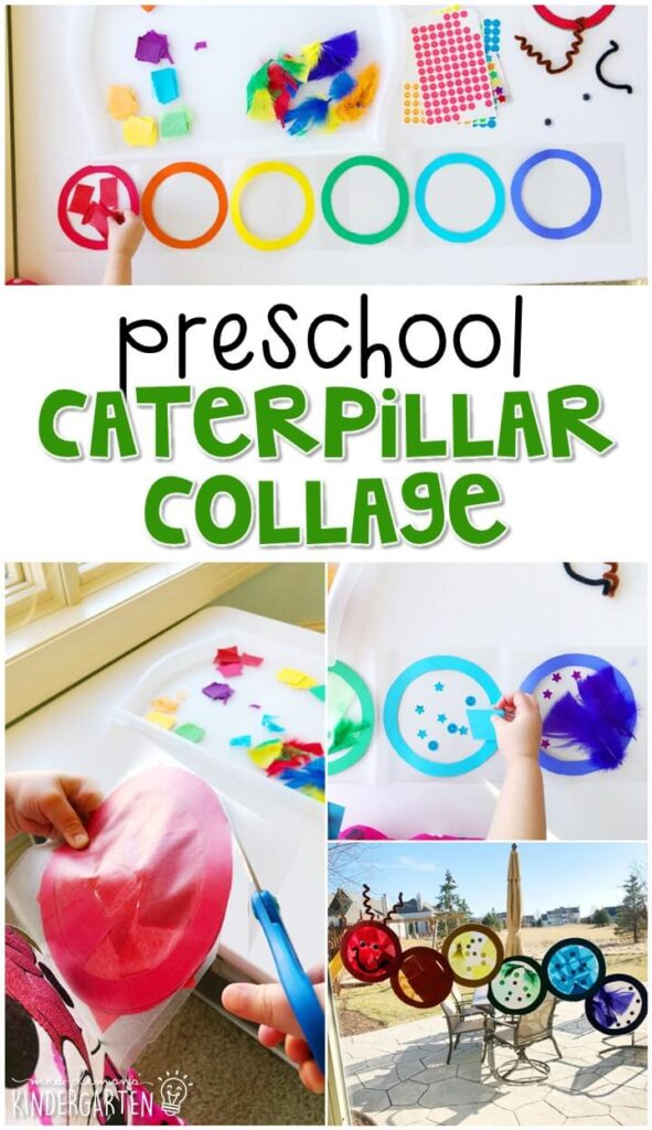 We had a blast making this caterpillar collage art project. Perfect for an insect theme in tot school, preschool, or even kindergarten!
