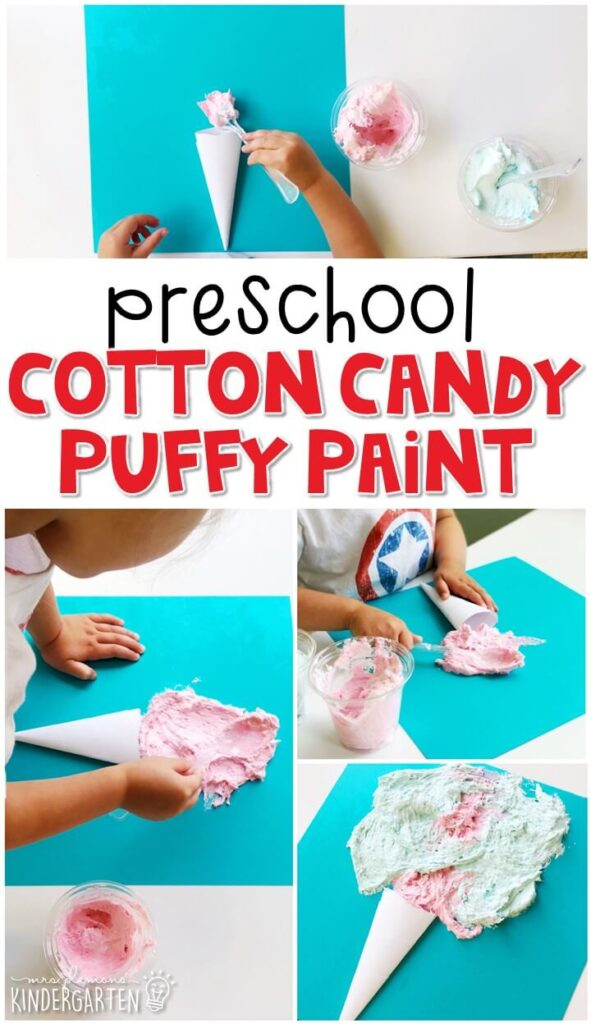 We had a blast making these cotton candy puffy paint projects. Perfect for a carnival theme in tot school, preschool, or even kindergarten!