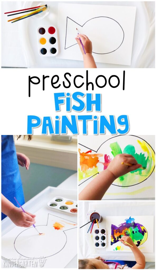 We had a blast making these watercolor fish paintings. Perfect for an ocean theme in tot school, preschool, or even kindergarten!