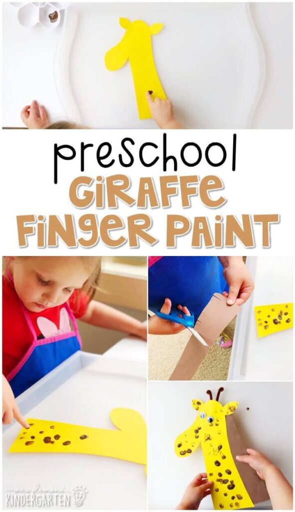 We had a blast making these finger paint giraffes. Perfect for a zoo theme in tot school, preschool, or even kindergarten!