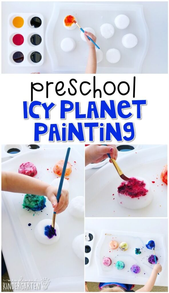 This ice planet painting is a fun way to design your own planet. Great for a space theme in tot school, preschool, or even kindergarten!