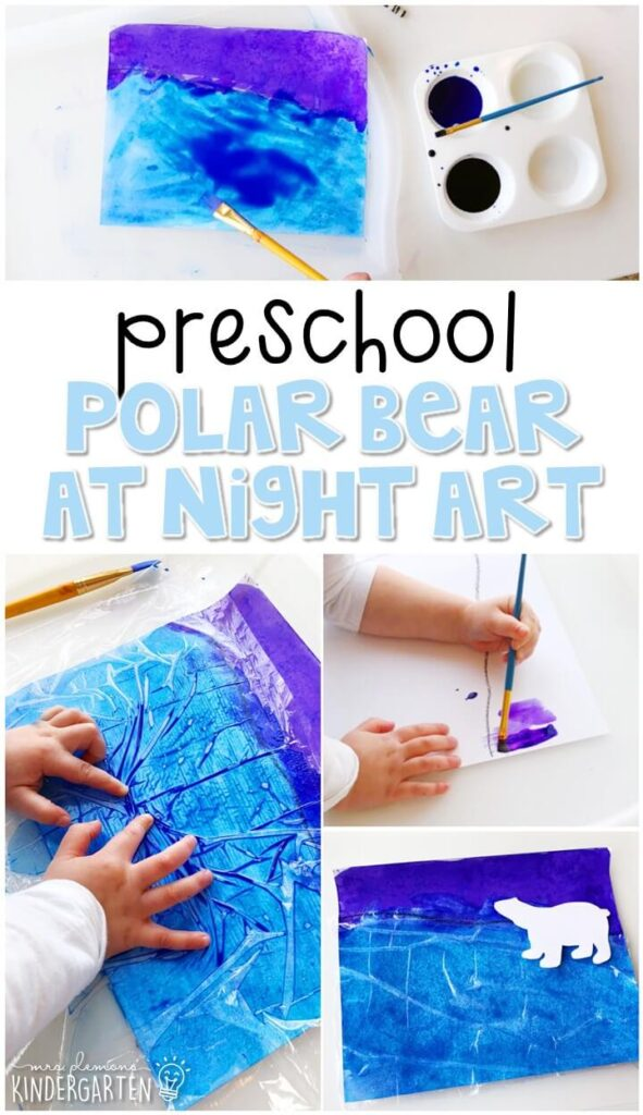 We had a blast making these polar bear at night scenes for our polar bear theme and the turned out gorgeous! Perfect for tot school, preschool, or even kindergarten!