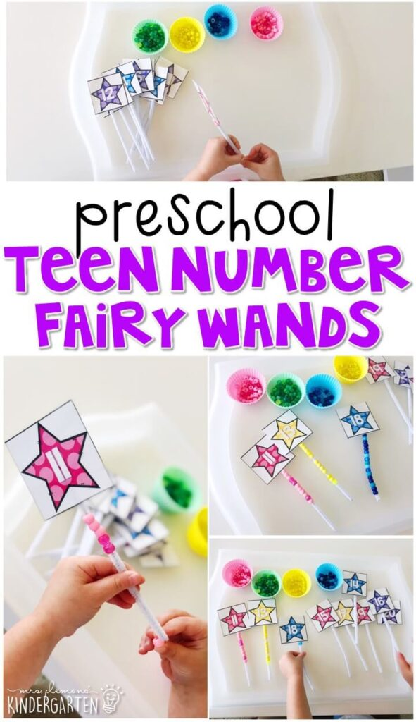 These teen number fairy wands are perfect combination of number and fine motor practice with a fairy tale theme. Great for tot school, preschool, or even kindergarten!