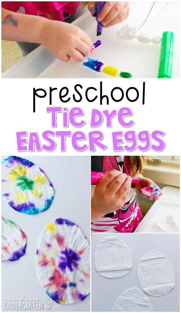 We had a blast making these tie dye Easter eggs. Perfect for spring in tot school, preschool, or even kindergarten!