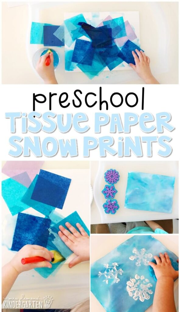 We had a blast making tissue paper snow prints for our winter theme. Perfect for tot school, preschool, or even kindergarten!