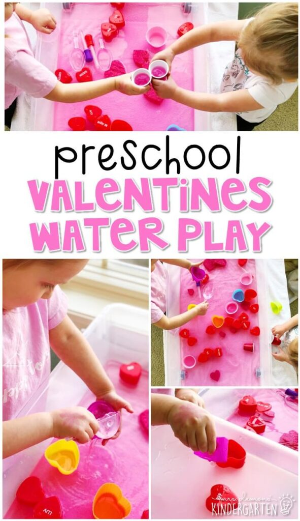 Water play sensory bins are always super engaging for my littles. So they loved pouring, dumping and exploring this valentines water play bin. Perfect for a valentines theme in tot school, preschool, or even kindergarten!