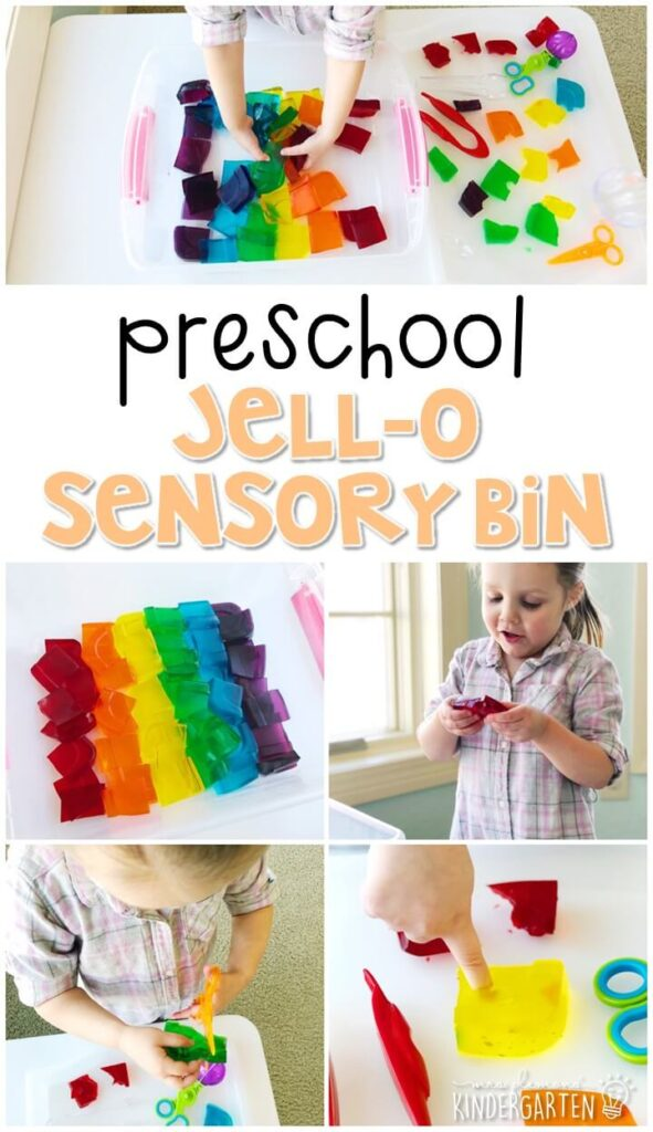 We LOVE this Jell-O sensory bin. Perfect for exploration with a five senses theme in tot school, preschool, or even kindergarten!