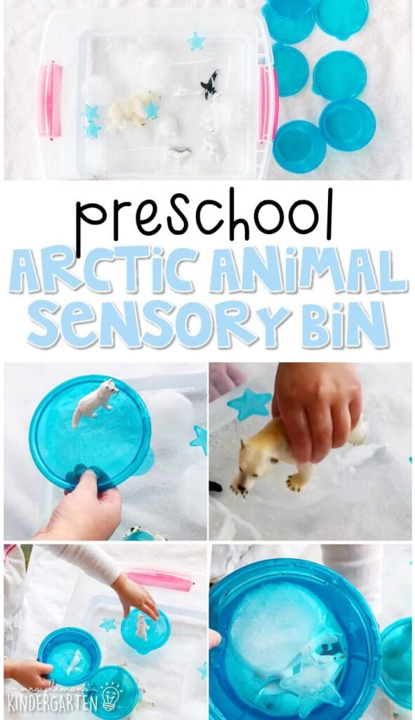 We LOVE this arctic animal sensory bin. Perfect for exploration with a dinosaur theme in tot school, preschool, or even kindergarten!