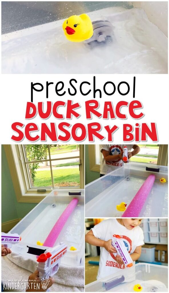 We LOVED this duck race sensory bin. Perfect for exploration with a carnival theme in tot school, preschool, or even kindergarten!