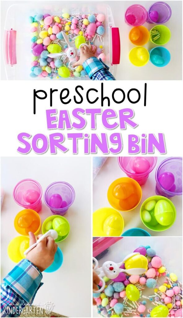 We LOVE this Easter sorting sensory bin. Perfect for exploration with an Easter theme in tot school, preschool, or even kindergarten!