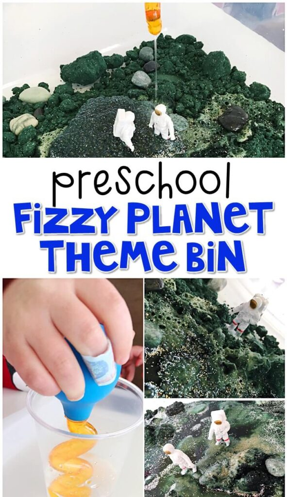 We LOVE this fizzy planet sensory bin. Perfect for getting messy and exploring with a space theme in tot school, preschool, or even kindergarten!