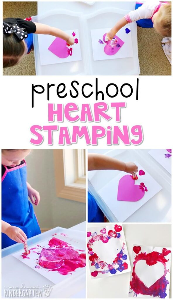This heart stamping craft was a fun way to use our creativity and work on fine motor skills. They turned out adorable! Perfect for a valentine theme tot school, preschool, or even kindergarten!