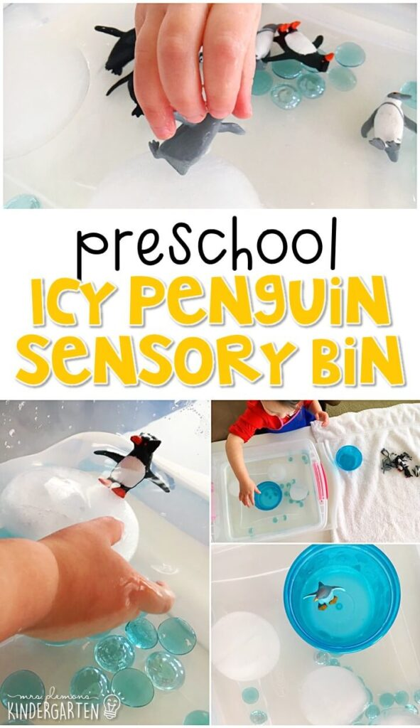 We LOVE this igloo sensory bin. Perfect for exploration with a penguin or winter theme in tot school, preschool, or even kindergarten!