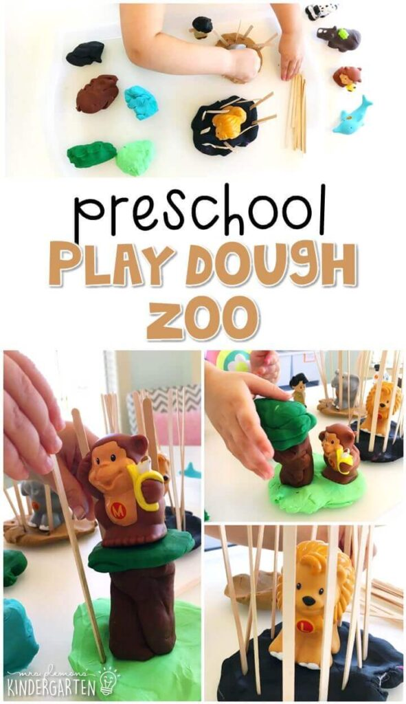 We LOVED building a zoo with this play dough invitation. Perfect for exploration with a zoo theme in tot school, preschool, or even kindergarten!