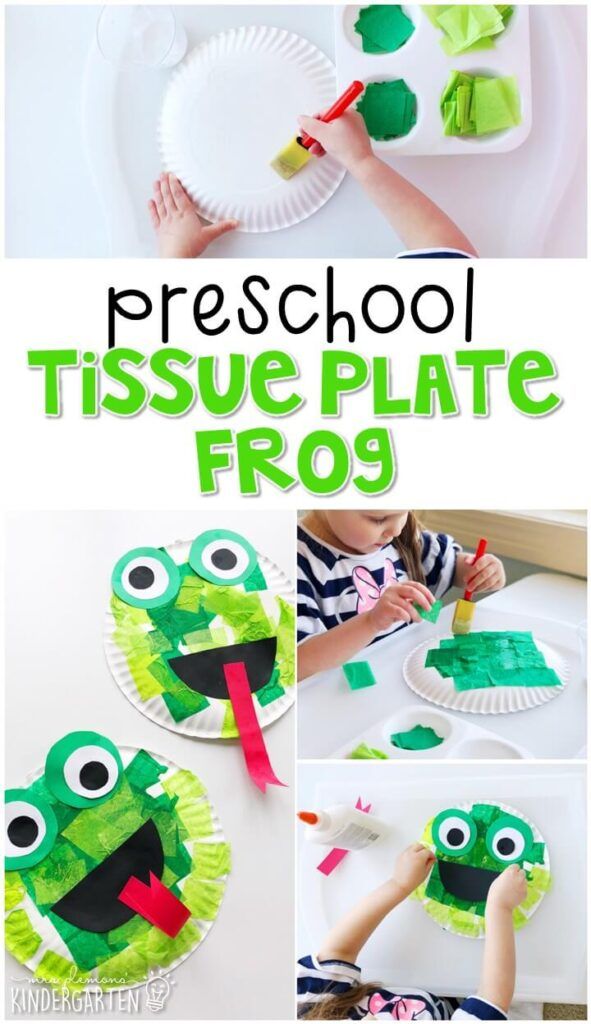 We had a blast making these tissue plate frogs for our frog theme Perfect for spring in tot school, preschool, or even kindergarten!