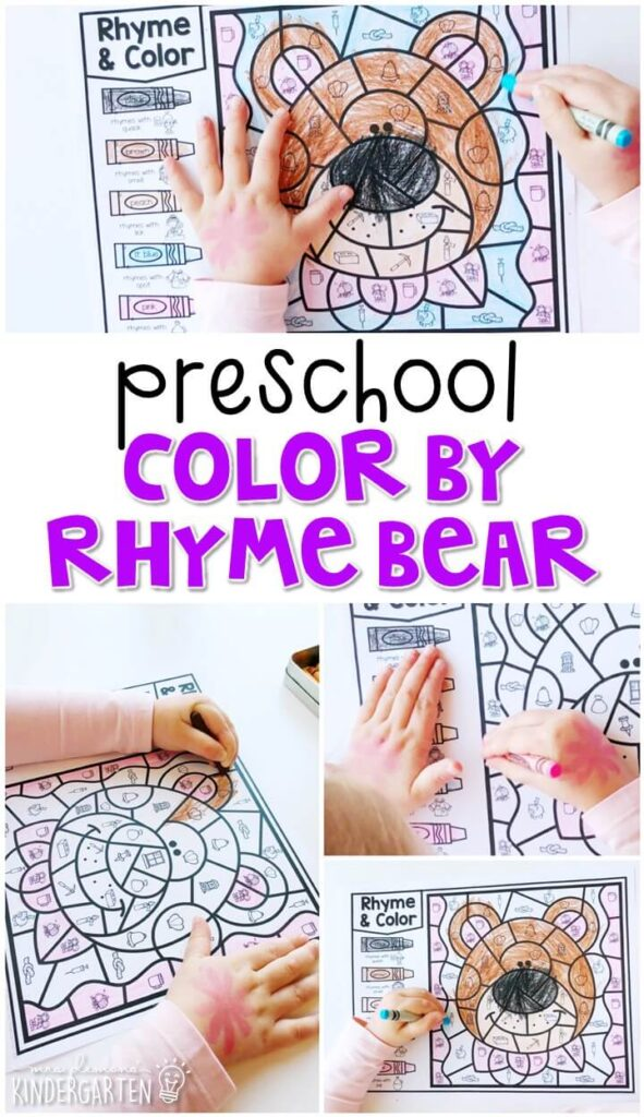 This color by rhyme bear activity is perfect for identifying rhymes and fine motor practice. Great for a fairy tale theme in tot school, preschool, or even kindergarten!