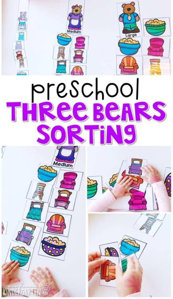 This three bears activity is a fun way to work on sorting concepts with a fairy tale theme. Great for tot school, preschool, or even kindergarten!