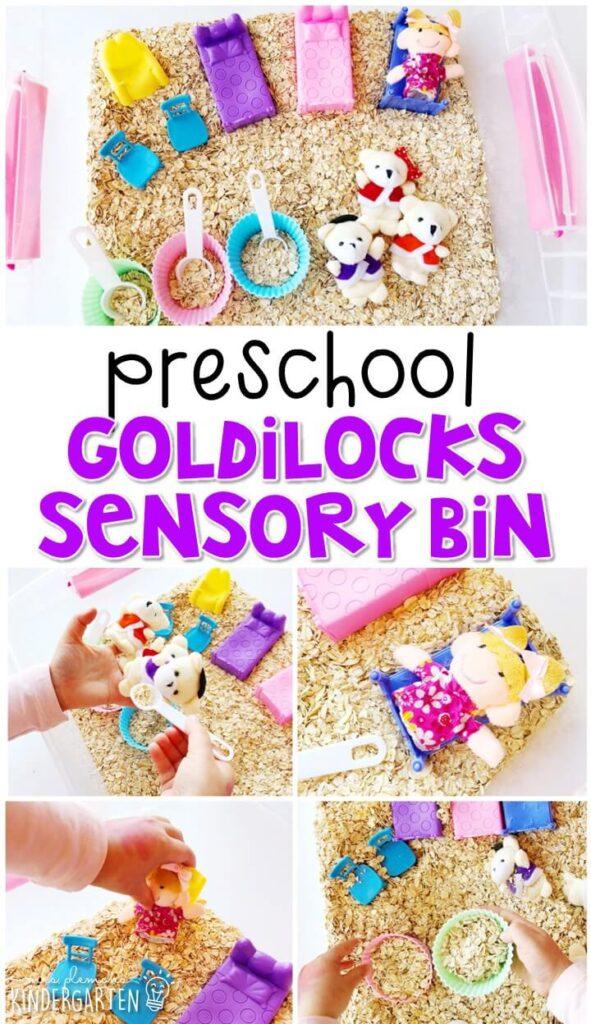 We LOVE this Goldilocks sensory bin. Perfect for exploration with a fairy tale theme in tot school, preschool, or even kindergarten!