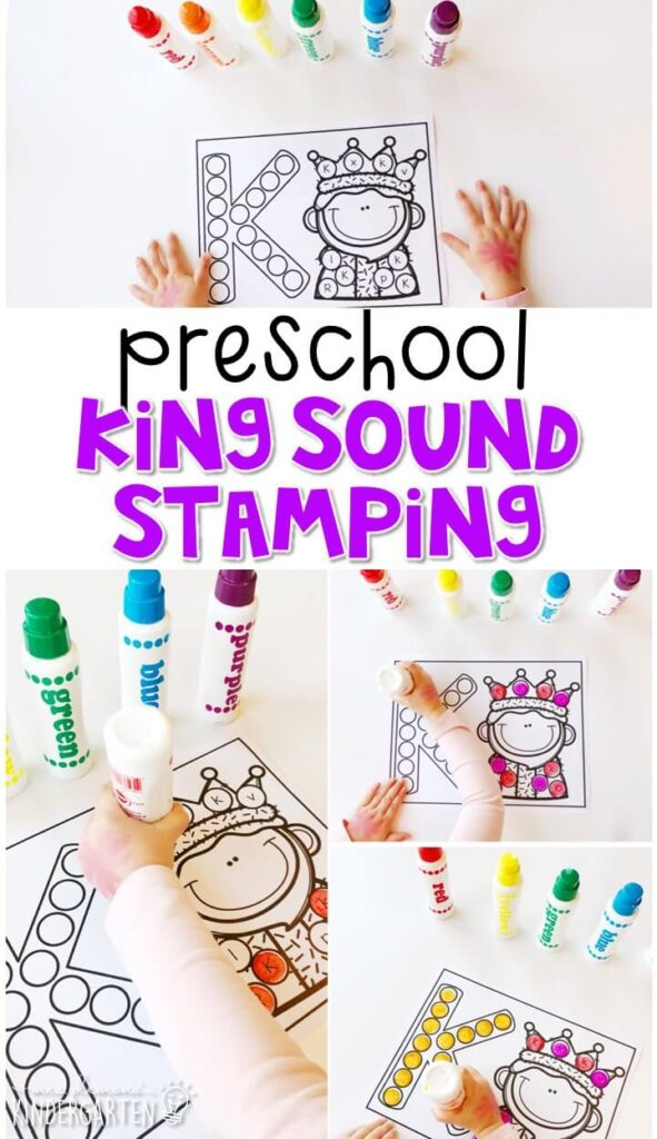 This king sound stamping activity is perfect for letter, sound, and fine motor practice with a fairy tale theme. Great for tot school, preschool, or even kindergarten!