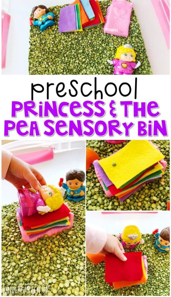 We LOVE this princess and the pea sensory bin. Perfect for exploration with a fairy tale theme in tot school, preschool, or even kindergarten!