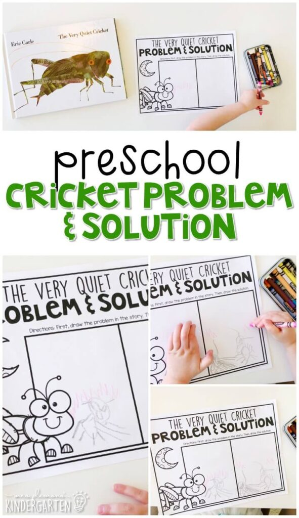 """Learn to identify problem and solution in a story with """"The Very Quiet Cricket"""" by Eric Carle. Great for an insect theme in tot school, preschool, or even kindergarten!"""