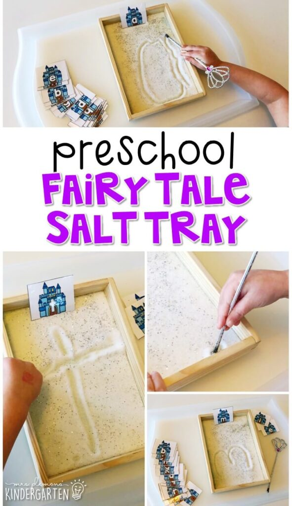 This fairy tale themed sand tray is fun for letter writing and fine motor practice with a magical theme. Great for tot school, preschool, or even kindergarten!