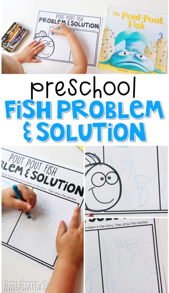 """Practice identifying problem and solution with """"Pout Pout Fish"""" by Deborah Diesen. Great for an ocean theme in tot school, preschool, or even kindergarten!"""