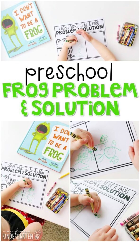 "Practice identifying problem and solution with ""I Don't Want to be a Frog"" by Dev Petty. Great for a frog theme in tot school, preschool, or even kindergarten!"