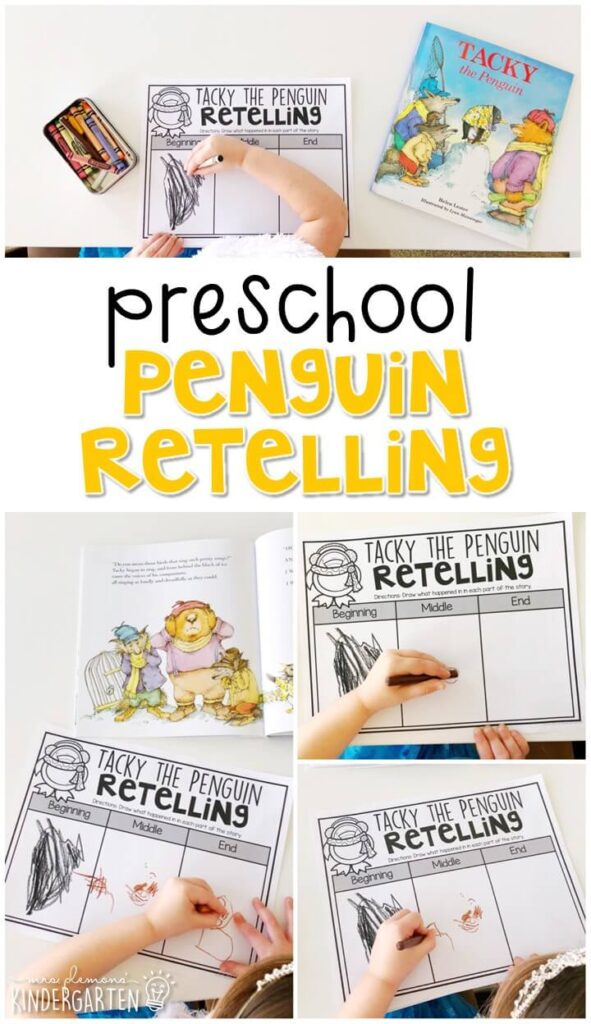 "Practice retelling a story with ""Tacky the Penguin"" by Helen Lester. Great for a penguin or winter theme in tot school, preschool, or even kindergarten!"