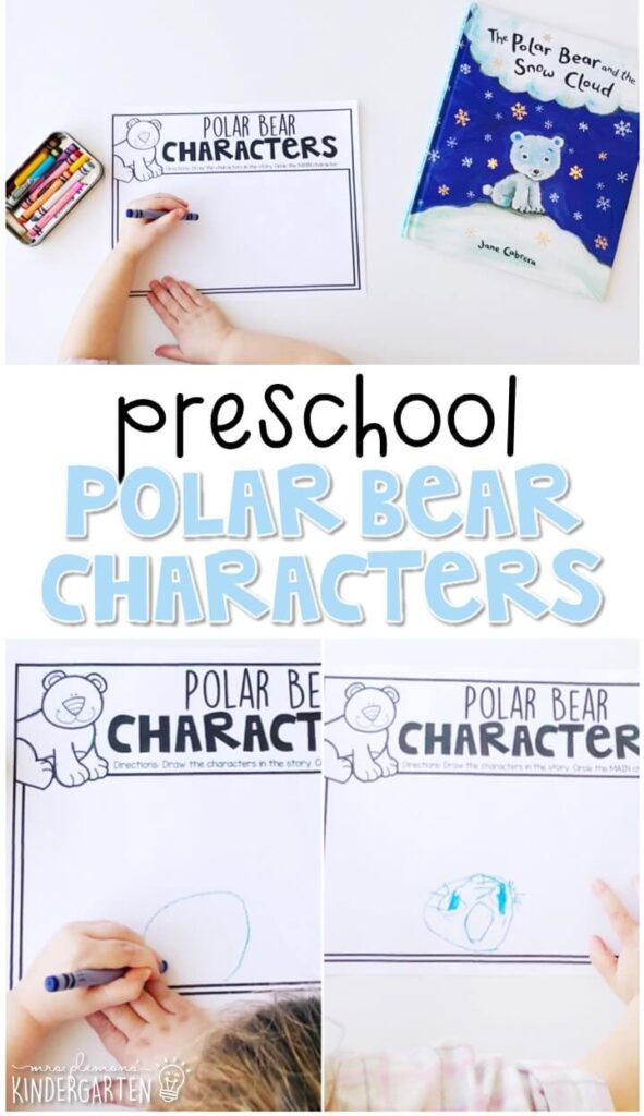 Learn about identifying characters in a story with The Polar Bear and the Snow Cloud by Jane Cabrera. Great for a polar bear theme in tot school, preschool, or even kindergarten!