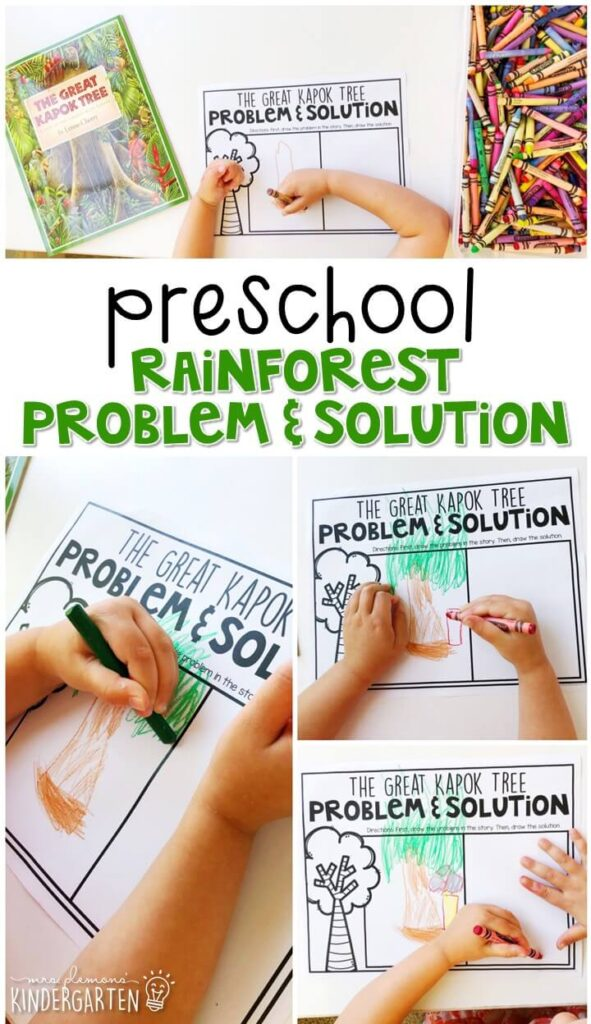 "Practice identifying problem and solution with "" The Great Kapok Tree"" by Lynne Cherry. Great for a rainforest theme in tot school, preschool, or even kindergarten!"