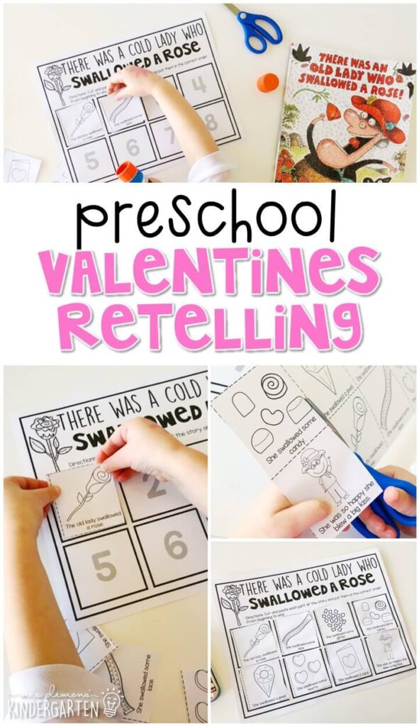 "Practice retelling a story with ""There Was an Old Lady Who Swallowed a Rose"" by Lucille Colandro. Great for a valentines theme in tot school, preschool, or even kindergarten!"