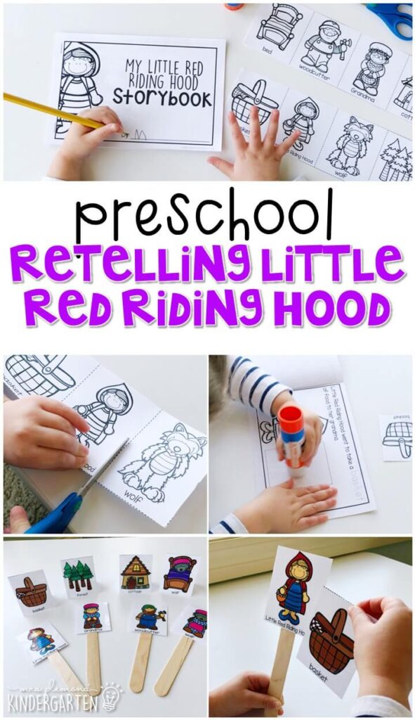 Begin studying fairy tales in preschool by reading one version of the story, making a simple story book, then retelling the story with puppets. Great for in tot school, preschool, or even kindergarten!