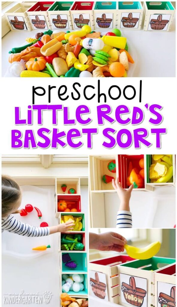 This Little Red Riding Hood basket food sort activity was a fun way to work on sorting skills with a fairy tale theme. Great for tot school, preschool, or even kindergarten!