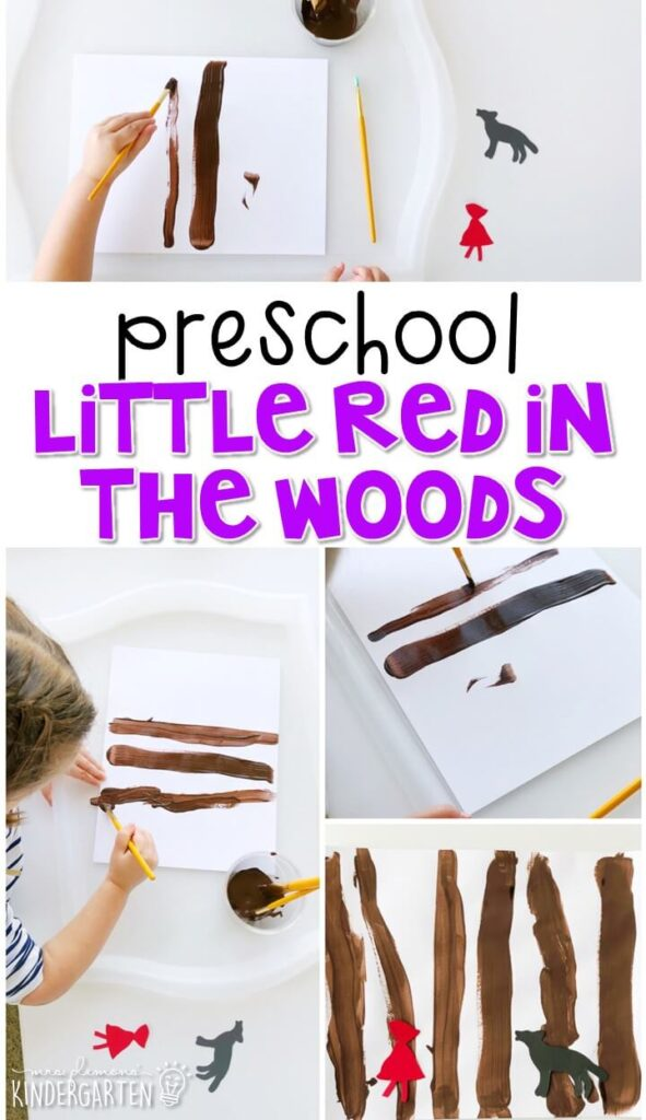 This little red in the woods craft was really simple and turned out so adorable. Great for a fairy tale tot school, preschool, or even kindergarten!