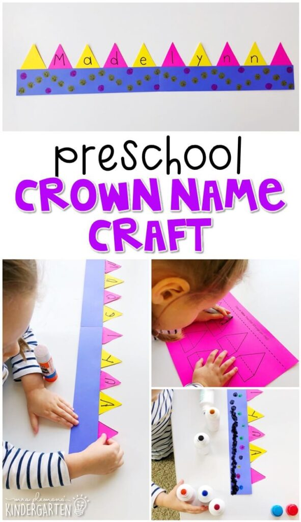 This crown name craftivity is fun for name writing, recognition, and fine motor practice with a fairy tale theme. Great for tot school, preschool, or even kindergarten!